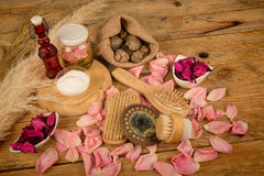 Natural lotions. Natural cosmetics with some  its ingredients Stock Image