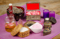 Natural lotions still life. Assortment of natural cosmetics with some of their ingredients stock photography