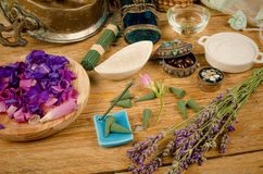Natural lotions still life. Natural cosmetics still life with lotions, salts and essential oils Stock Images