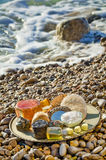 Natural lotions. Tray with natural cosmetics and bath accessories Royalty Free Stock Photo