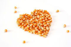 Natural love. Heart made of corn Royalty Free Stock Images