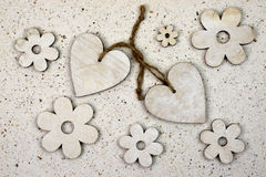 Natural love decoration with, wooden hearts hand made paper Royalty Free Stock Images