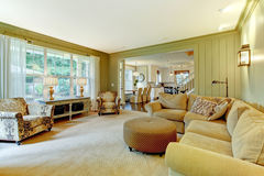 Natural luxury cream and green living room Royalty Free Stock Images