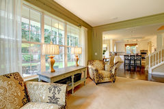 Natural luxury cream green living room Stock Photography