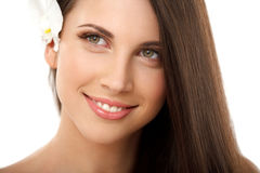 Natural Make-up for Brunette Woman with Red Lips. Royalty Free Stock Photos
