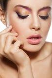 Natural makeup. Beautiful female face with natural makeup, closed eyes Stock Photo