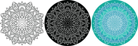 Natural mandala of circles for coloring book. Round pattern. On the black and turquoise background Royalty Free Stock Photo