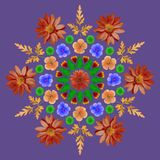Natural mandala from dried pressed flowers, petals and leaves. Royalty Free Stock Photography