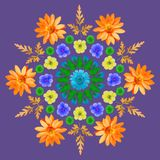 Natural mandala from dried pressed flowers, petals and leaves. Royalty Free Stock Image