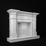 Natural marble fireplace view perspective Royalty Free Stock Images