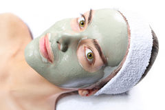 Natural mask with green clay Royalty Free Stock Photography