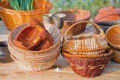 Natural material craft baskets Royalty Free Stock Photos