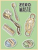 Natural material shower items. Ecological and zero-waste product. Green house and plastic-free living stock illustration