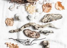 Natural materials for creativity on  light background, top view royalty free stock photography
