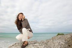 Natural mature woman autumn storm Stock Image