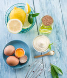 Natural mayonnaise ingredients. Royalty Free Stock Photography