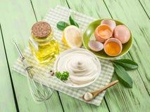 Natural mayonnaise ingredients. Royalty Free Stock Photos