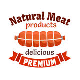 Natural meat products emblem. Smoked sausage, bacon loaf, meat delicatessen wurst. Icon with red ribbon for butcher shop, restaurant menu, grocery farm store Stock Photography