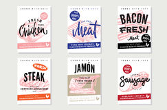 Natural Meat Promotional Posters. With inscriptions and hand drawn fresh organic products vector illustration Stock Images