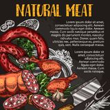 Natural meat and sausage chalkboard poster design. Natural meat and sausage chalkboard poster with fresh farm product. Pork sausage, salami, chicken leg and Stock Photos
