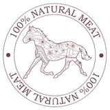 Natural meat stamp with horse Royalty Free Stock Image