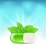 Natural Medical Pill with Green Leaves Royalty Free Stock Photo