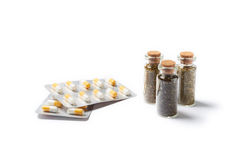 Natural medicament with pills Stock Photo