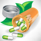 Natural medication pills in bottle concept Stock Photography