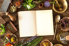 Natural medicine. The natural medicine, herbal, medicines and old book with copy space for your text Royalty Free Stock Image