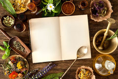Natural medicine. The natural medicine, herbal, medicines and old book with copy space for your text stock photos