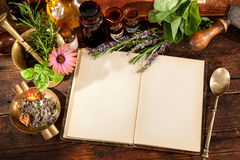 Natural medicine. The natural medicine, herbal, medicines and old book with copy space for your text Stock Photography