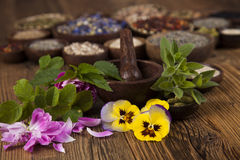 Natural medicine, wooden table background Stock Photography