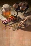 Natural medicines with pills Stock Photos