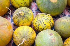 Natural melons. The large round fruit of a plant of the gourd family, with sweet pulpy flesh and many seeds Royalty Free Stock Photos