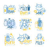 Natural Milk And Fresh Dairy Products Set Of Colorful Promo Sign Design Templates With Cows And Milk Packs Royalty Free Stock Photo