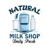 Natural milk, fresh farm dairy drink badge Royalty Free Stock Images