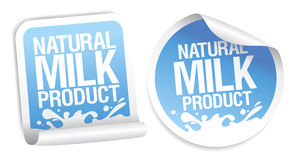 Natural milk product stickers. Stock Image