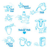 Natural milk with splashes, icons design. Healthy product. Stock Photos