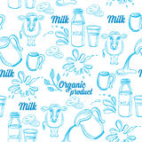 Natural milk with splashes, seamless pattern design. Royalty Free Stock Photography