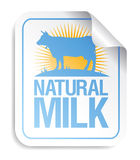 Natural milk sticker. Stock Photos