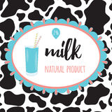 Natural milk sticker with cow spot skin background. Royalty Free Stock Photo