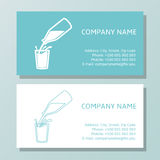Natural milk symbol or logo. Business Card Set for dairy company. Royalty Free Stock Image