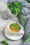 Natural mint tea and fresh mint leaves on a gray background.  stock photos