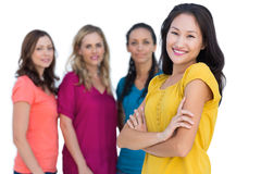 Natural models posing with asian brunette in foreground Royalty Free Stock Photography