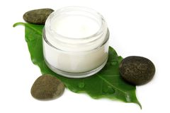 Natural Moisturizer. On Leaf with Stones Isolated Stock Images
