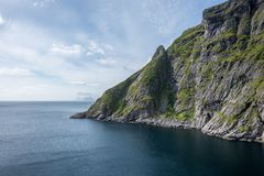 Natural mountain landscape at summer in Lofoten, Norway royalty free stock photography