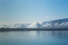 Natural mountain and water lake during late winter season, Iceland Stock Image