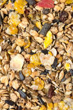 Natural  muesli  background with fruites. for horse. Stock Photography