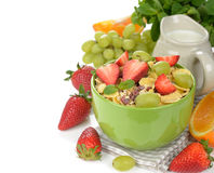 Natural muesli with strawberries and grapes Stock Image