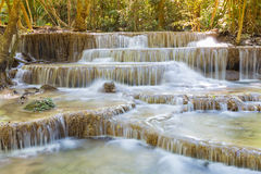 Natural multiple layers waterfall in deep forest national park Royalty Free Stock Image